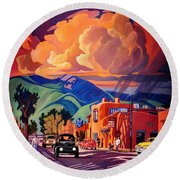 Taos Inn Monsoon Round Beach Towel