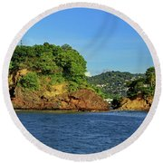 Round Beach Towel featuring the photograph Tapion Rock by Tony Murtagh