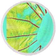 Taro Leaf In Turquoise  Round Beach Towel