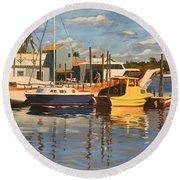 Tarpon Springs Harbour Round Beach Towel