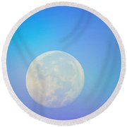 Round Beach Towel featuring the photograph Taurus Almost Full Moon Blend by Judy Kennedy