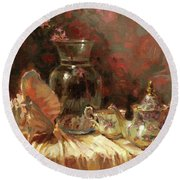 Round Beach Towel featuring the painting Tea By The Sea by Steve Henderson