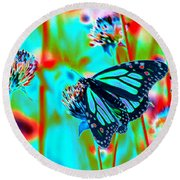 Teal Blue Monarch Butterfly Round Beach Towel