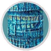 Round Beach Towel featuring the digital art Teal Palm Bark by Cindy Greenstein