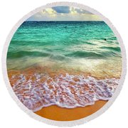 Round Beach Towel featuring the digital art Teal Shore  by Cindy Greenstein