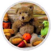 Teddy Bear And Toy Friends Round Beach Towel
