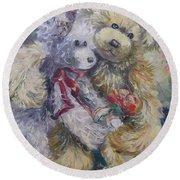 Teddy Bear Honeymooon Round Beach Towel