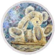 Teddy Bear In Basket Round Beach Towel