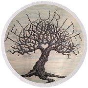 Round Beach Towel featuring the drawing Telluride Love Tree by Aaron Bombalicki