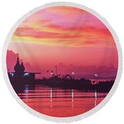 Temple On The Sea Round Beach Towel