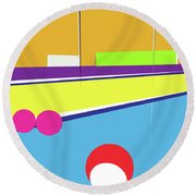 Tennis In Abstraction Round Beach Towel