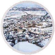 Tregaron In The Snow, From The Air Round Beach Towel