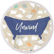 Terrazzo Unwind Bathtub- Art By Linda Woods Round Beach Towel