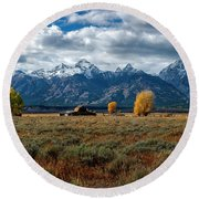Round Beach Towel featuring the photograph Tetons And Mormon Row by Scott Read