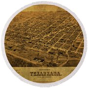 Texarkana Texas Arkansas Vintage City Street Map 1888 Round Beach Towel