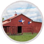 Round Beach Towel featuring the photograph Texas Red Barn by Robert Bellomy