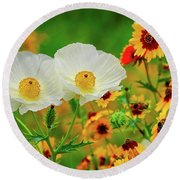 Texas Wildflowers Round Beach Towel