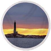 Thacher Island Lighthouse At Sunrise Sunrays Rockport Ma Round Beach Towel