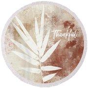 Thankful Autumn Clay Leaf- Art By Linda Woods Round Beach Towel