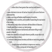 The 12 Steps Of Alcoholics Anonymous Round Beach Towel