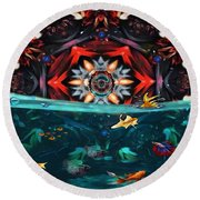The Abstract Fish Tomb Round Beach Towel