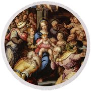 The Adoration Of The Magi, 1567 Round Beach Towel