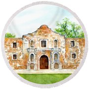 Round Beach Towel featuring the painting The Alamo Mission Texas by Carlin Blahnik CarlinArtWatercolor