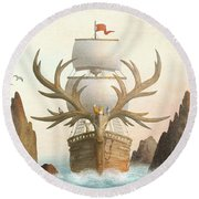The Antlered Ship Round Beach Towel