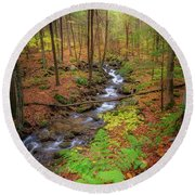 Round Beach Towel featuring the photograph The Autumn Forest by Bill Wakeley