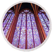 The Awe Of Sainte Chappelle Round Beach Towel