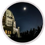 The Bahais Temple On A Starry Night Round Beach Towel