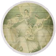 The Ballet Dancers Shabby Chic Vintage Style Portrait Round Beach Towel
