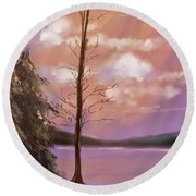 The Bare Tree At Sunset  Round Beach Towel