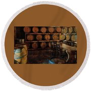Round Beach Towel featuring the photograph The Barrel Room by Thom Zehrfeld