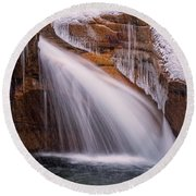 The Basin, Close Up In A Winter Storm Round Beach Towel