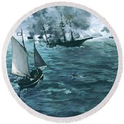 The Battle Of The Uss Kearsarge And The Css Alabama - Digital Remastered Edition Round Beach Towel