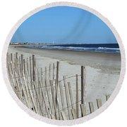 The Beach At Holden Beach North Carolina Round Beach Towel