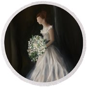 Round Beach Towel featuring the painting The Big Day by Fe Jones