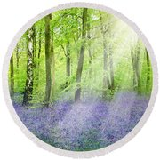 The Bluebell Woods Round Beach Towel
