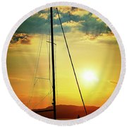 the Boat and the Sky Round Beach Towel