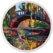 The Bridge At City Park New Orleans Round Beach Towel