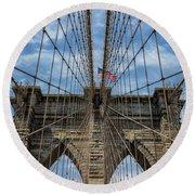 Round Beach Towel featuring the photograph The Brooklyn Bridge by Robert Bellomy