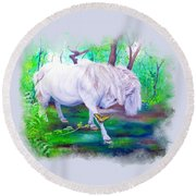 The Butterfly And The Pony Round Beach Towel