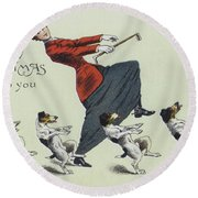 The Cake Walk, With Dogs Round Beach Towel