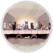 The Cat Supper Round Beach Towel