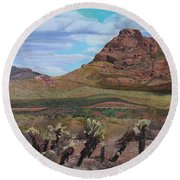 The Cholla At Mount Mcdowell, Arizona Round Beach Towel