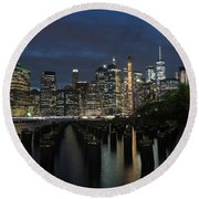 The City Alight Round Beach Towel