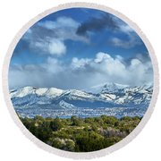 The City Of Bariloche And Landscape Of Snowy Mountains In The Argentine Patagonia Round Beach Towel