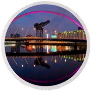 Round Beach Towel featuring the photograph The Clyde Arc Reflected by Stephen Taylor