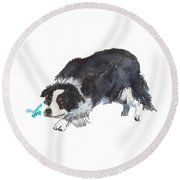 The Collie And Blue Butterfly Round Beach Towel